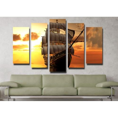 Декоративни панели и картини от канава Модел 13 062 ветроход пет части