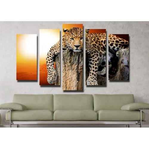 Декоративни панели и картини от канава Модел 13 063 Леопард пет части