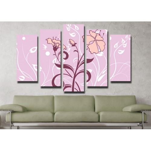 Декоративни панели и картини от канава Модел 13 064 цвете пет части
