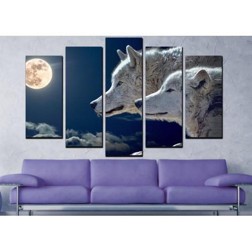 Декоративни панели и картини от канава Модел 13 065 вълци пет части