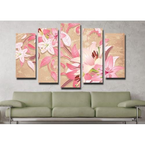 Декоративни панели и картини от канава Модел 13 066 цвете пет части