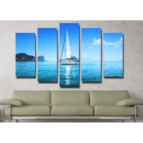 Декоративни панели и картини от канава Модел 13 072 лодка пет части
