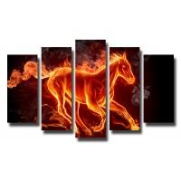 Декоративни панели и картини от канава Модел 13 076 огнен кон пет части