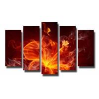 Декоративни панели и картини от канава Модел 13 077 огнено цвете пет части