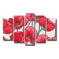 Декоративни панели и картини от канава Модел 13 084 макове пет части