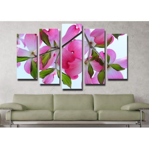 Декоративни панели и картини от канава Модел 13 085 цвете пет части