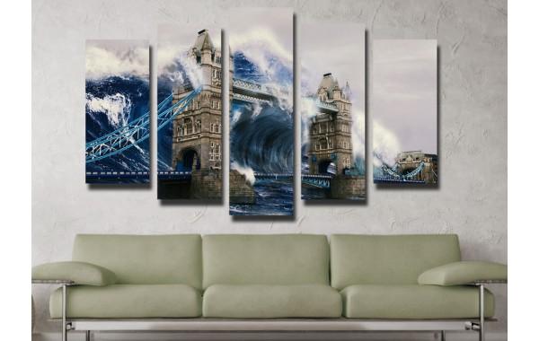 Декоративни панели и картини от канава Модел 13 088 вълна пет части