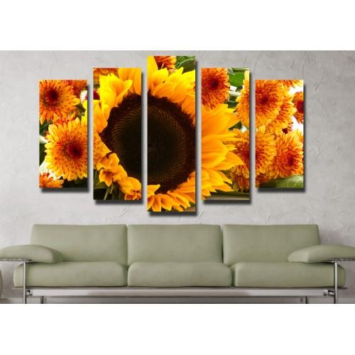 Декоративни панели и картини от канава Модел 13 09 слънчогледи пет части