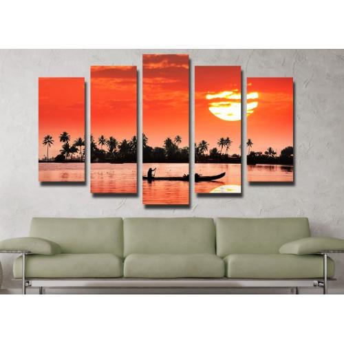 Декоративни панели и картини от канава Модел 13 095 лодка залез пет части