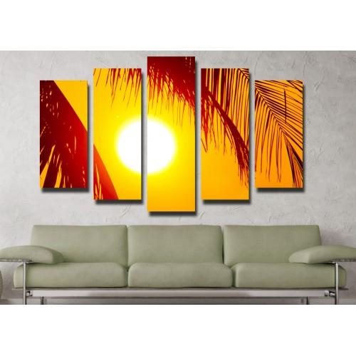 Декоративни панели и картини от канава Модел 13 097 залез палми пет части