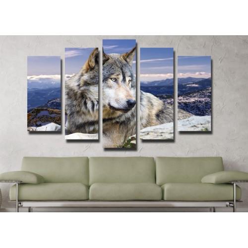 Декоративни панели и картини от канава Модел 13 099 вълк пет части