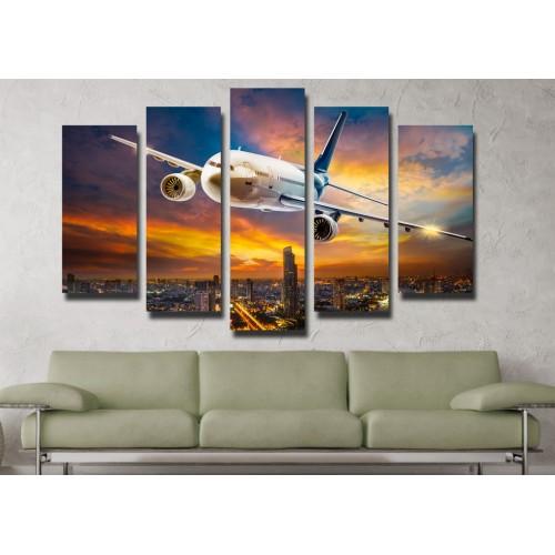 Декоративни панели и картини от канава Модел 13 100 самолет полет пет части