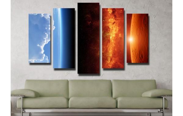 Декоративни панели и картини от канава Модел 13 101 космос пет части