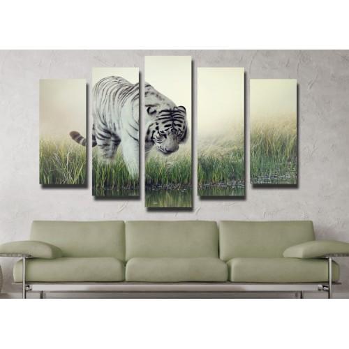 Декоративни панели и картини от канава Модел 13 102 бенгалски тигър  пет части