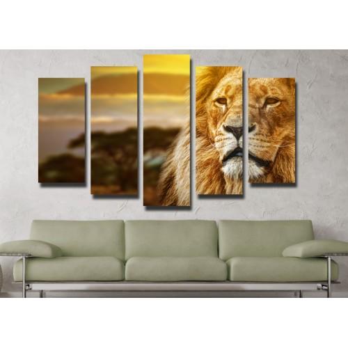 Декоративни панели и картини от канава Модел 13 109 лъв пет части