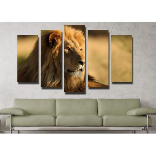 Декоративни панели и картини от канава Модел 13 110 лъв пет части
