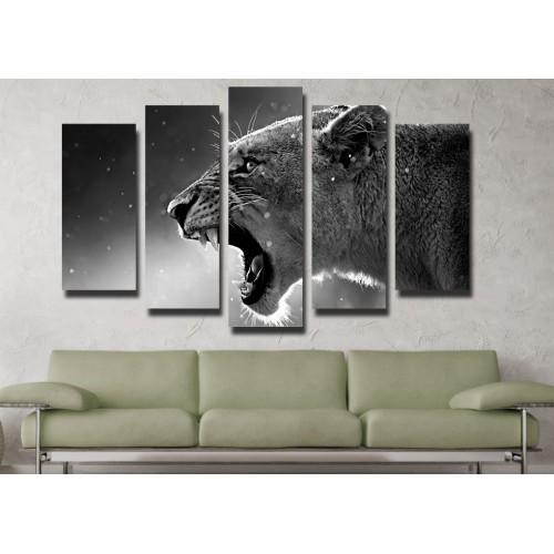 Декоративни панели и картини от канава Модел 13 111 лъв пет части
