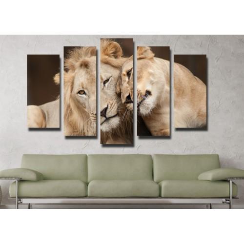 Декоративни панели и картини от канава Модел 13 112 лъвове пет части