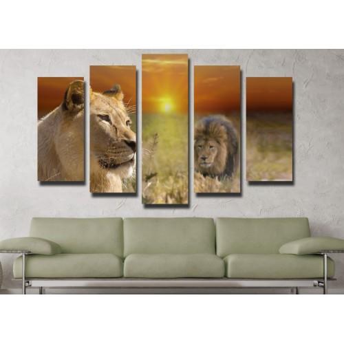 Декоративни панели и картини от канава Модел 13 113 лъвове пет части