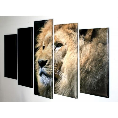Декоративни панели и картини от канава Модел 13 115 лъв пет части