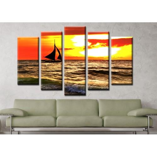 Декоративни панели и картини от канава Модел 13 137 лодка море пет части