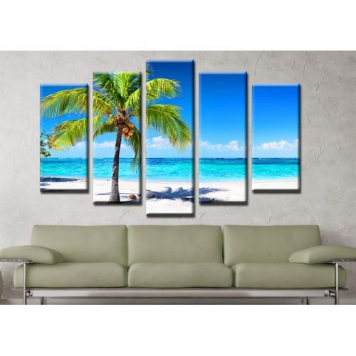 Декоративни панели и картини от канава Модел 13 142 тропически плаж пет части