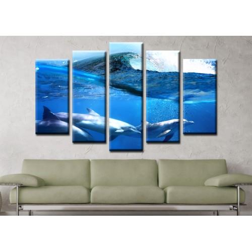 Декоративни панели и картини от канава Модел 13 154 делфини море пет части