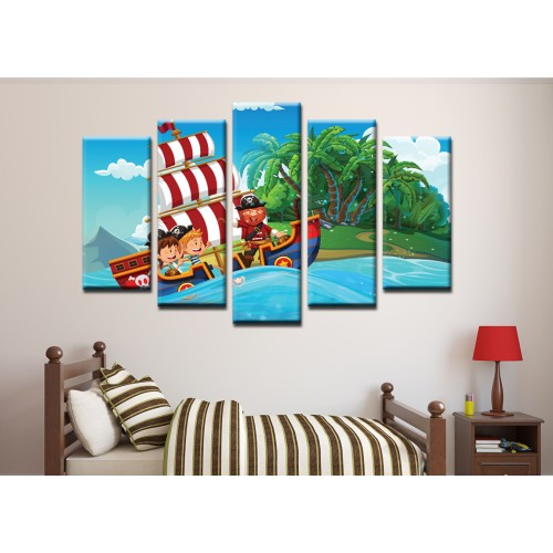 Декоративни панели и картини от канава Модел 13 164 пирати кораб остров пет части