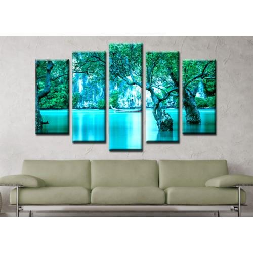 Декоративни панели и картини от канава Модел 13 169 езеро пет части