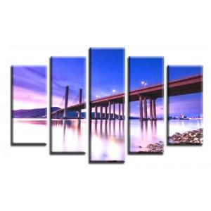 Декоративни панели и картини от канава Модел 13 170 мост нощен град  светлини пет части