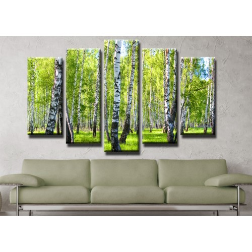 Декоративни панели и картини от канава Модел 13 171 брезова гора пет части
