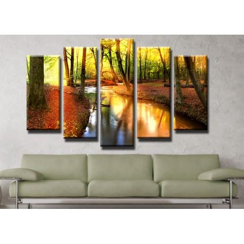 Декоративни панели и картини от канава Модел 13 172 гора поток пет части