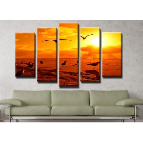 Декоративни панели и картини от канава Модел 13 173 чайки пет части