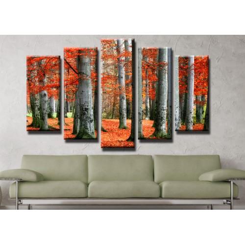 Декоративни панели и картини от канава Модел 13 178 гора пет части