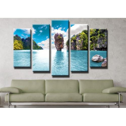 Декоративни панели и картини от канава Модел 13 179 скалист остров пет части