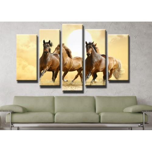 Декоративни панели и картини от канава Модел 13 197 коне пет части