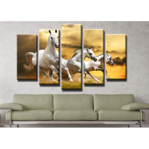 Декоративни панели и картини от канава Модел 13 200 коне пет части
