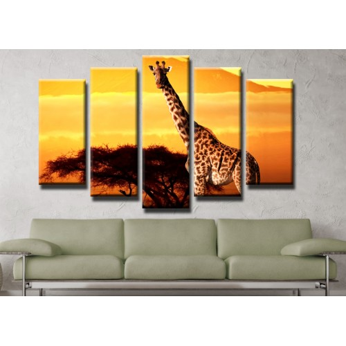 Декоративни панели и картини от канава Модел 13 400 жираф пет части