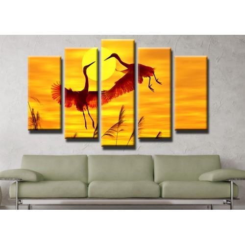 Декоративни панели и картини от канава Модел 13 401 птици залез пет части