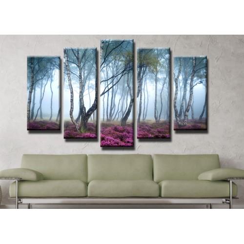 Декоративни панели и картини от канава Модел 13 402 гора пет части