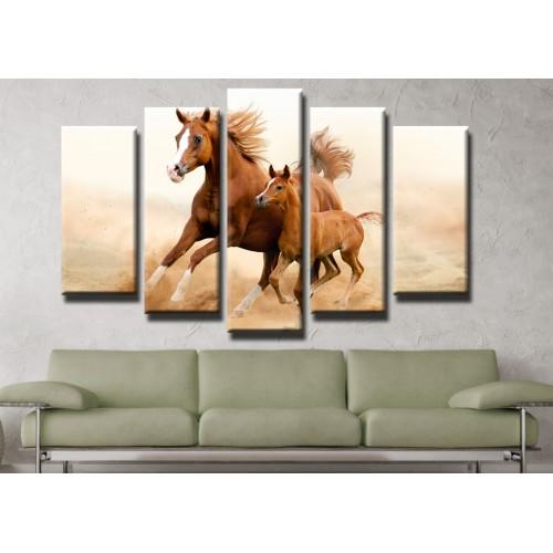 Декоративни панели и картини от канава Модел 13 403 коне пет части
