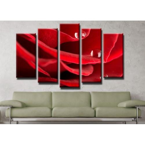 Декоративни панели и картини от канава Модел 13 407 цвят роза пет части