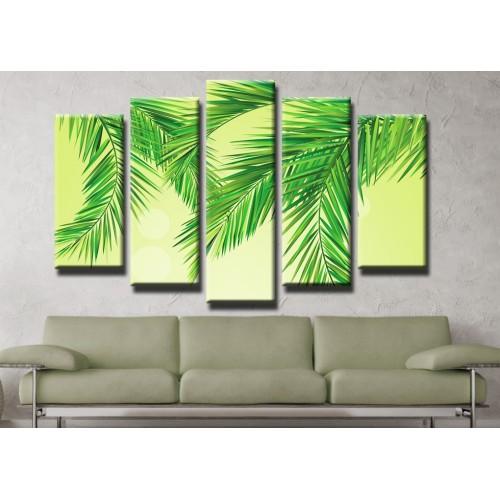 Декоративни панели и картини от канава Модел 13 409 бамбукови листа пет части
