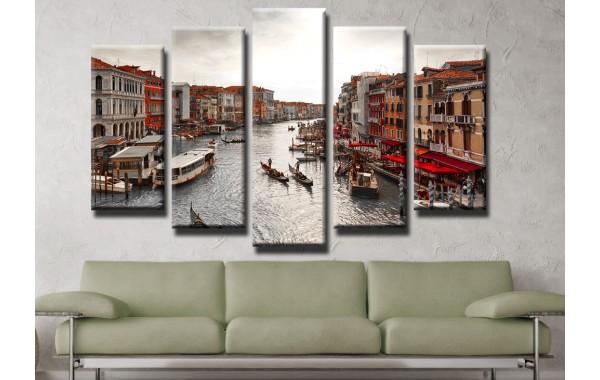Декоративни панели и картини от канава Модел 13 410 венеция пет части
