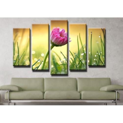 Декоративни панели и картини от канава Модел 13 411 цвете пет части