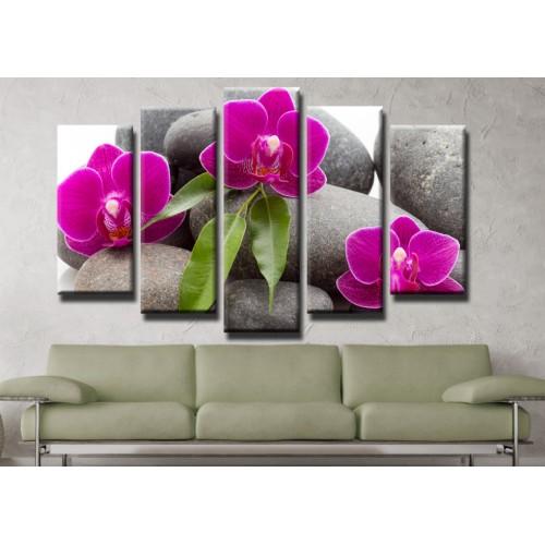 Декоративни панели и картини от канава Модел 13 412 орхидея пет части