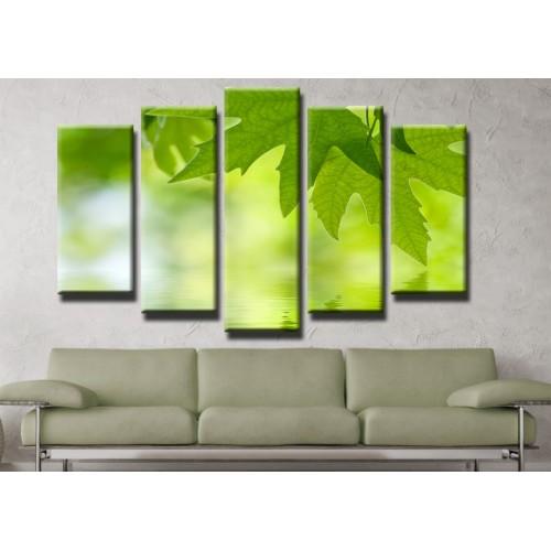 Декоративни панели и картини от канава Модел 13 416 листо отражение вода пет части