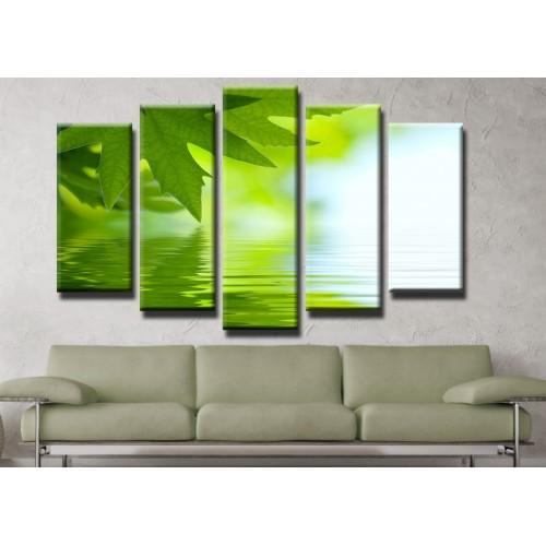 Декоративни панели и картини от канава Модел 13 417 листа отражение вода пет части
