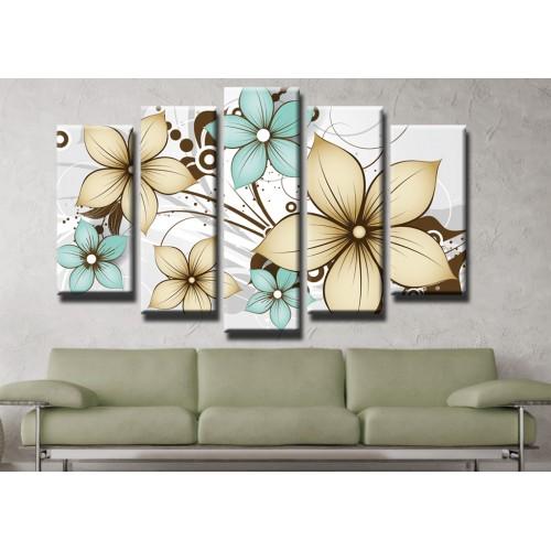Декоративни панели и картини от канава Модел 13 418 цвете пет части
