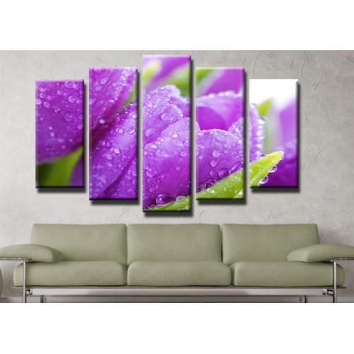 Декоративни панели и картини от канава Модел 13 427 лилави лалета пет части